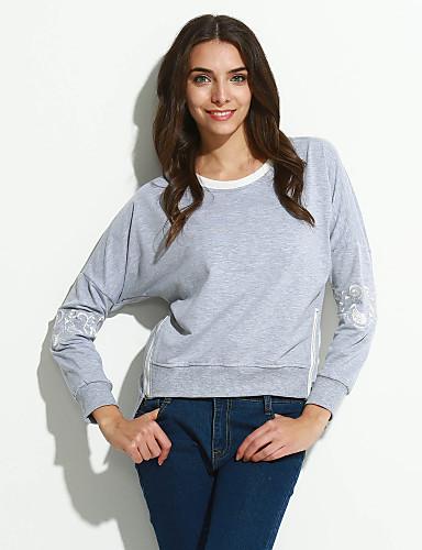Dame Afslappet Gade Trykt mønster Sweatshirt Normal Daglig I-byen-tøj Langærmet, Rund hals Forår Sommer Bomuld