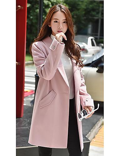 Ull Rosa Medium Langermet,Skjortekrage Frakk Ensfarget Vintage / Gatemote / Sofistikert Ut på byen / Fritid/hverdag-Høst / Vinter Dame