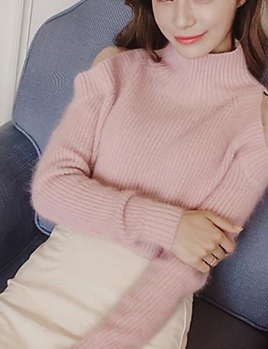 Normal Pullover Fritid/hverdag Enkel Dame,Ensfarget Rosa / Hvit / Grå Rund hals Langermet Polyester Vår Medium Mikroelastisk