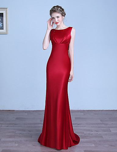 4532d9555432 Sheath / Column Jewel Neck Floor Length Stretch Satin Formal Evening Dress  with Pleats by LAN TING Express