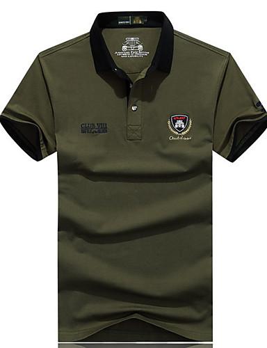 Bomull Grønn Tynn Kortermet,Skjortekrage T-skjorte Trykt mønster / Bokstaver Sommer Enkel Fritid/hverdag Herre