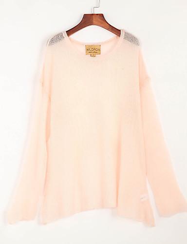 דק אביב קיץ צמר שרוול ארוך צווארון עגול אחיד פשוטה חמוד ליציאה סוודר רגיל נשים מיקרו-אלסטי