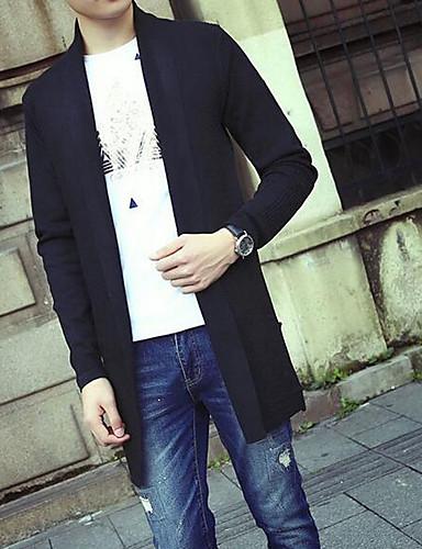 Normal Cardigan Fritid/hverdag Enkel Herre,Ensfarget Skjortekrage Langermet Akryl Høst Medium Mikroelastisk