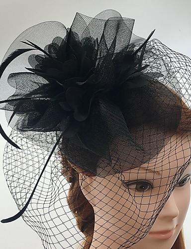 abordables Chapeau & coiffure-Tulle / Plume / Filet Fascinators / Coiffure / Voiles Birdcage avec Fleur 1pc Mariage / Occasion spéciale / Décontracté Casque