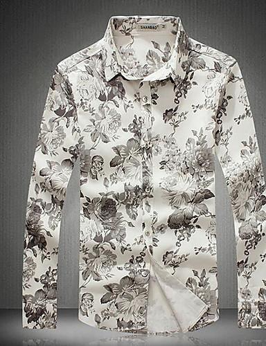 Bomull Medium Langermet,Skjortekrage Skjorte Trykt mønster Alle sesonger Aktiv Fritid/hverdag Strand Ferie Herre