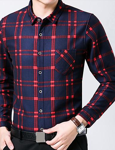 Bomull / Akryl / Polyester Blå / Rød Medium Langermet,Skjortekrage Skjorte Ruter Vår / Vinter Enkel Fritid/hverdag / Plusstørrelser Herre