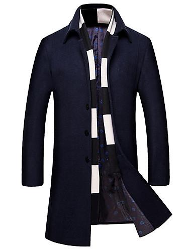 Bomull / Akryl / Polyester Blå / Rød / Sort / Grå Medium Langermet,Skjortekrage Frakk Ensfarget Enkel Fritid/hverdag / Plusstørrelser-Vår