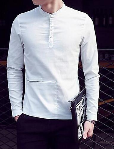 Bomull Medium Langermet,Skjortekrage Skjorte Ensfarget Vinter Vintage Ut på byen Fritid/hverdag Herre