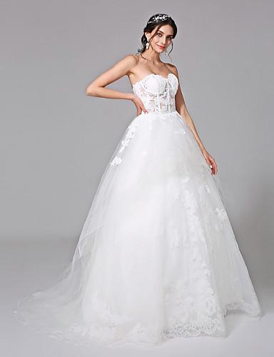 De Baile Decote Princesa Cauda Escova Tule Vestido de casamento com Apliques de LAN TING BRIDE®