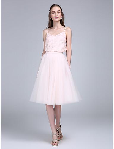 A-라인 스파게티 스트랩 무릎 길이 레이스 튤 신부 들러리 드레스 와 레이스 으로 LAN TING BRIDE®