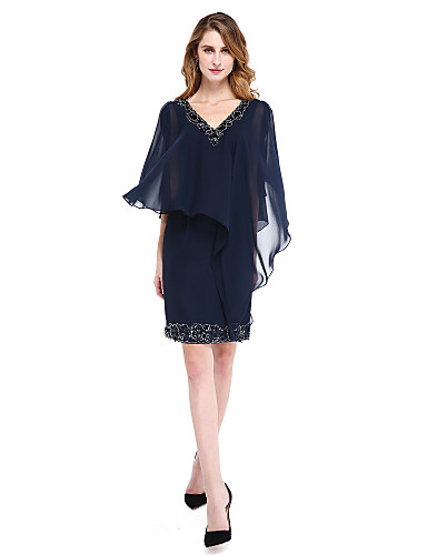 מעטפת \ עמוד צווארון V באורך  הברך שיפון שמלה לאם הכלה  עם חרוזים נצנצים על ידי LAN TING BRIDE®