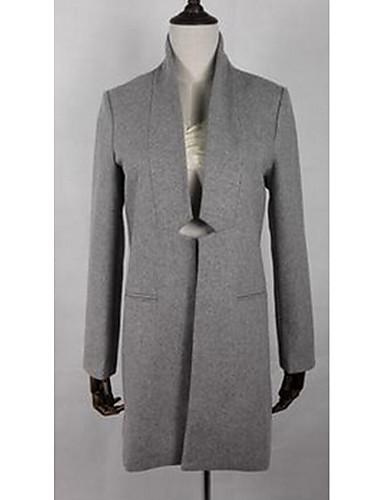 女性 お出かけ 秋 ソリッド コート,セクシー スタンド ブラック / グレイ ウール 長袖 ミディアム