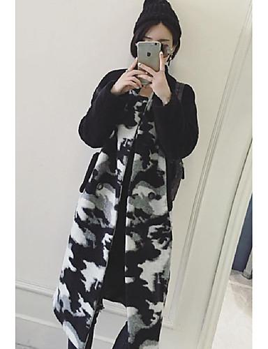 Polyester Hvit / Sort Medium Langermet Frakk Camouflage Enkel Fritid/hverdag-Høst / Vinter Dame