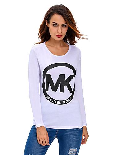 Polyester Spandex T-skjorte - Bokstaver Dame
