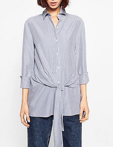 Bomull Langermet,Skjortekrage Skjorte Stripet Høst Vintage Fritid/hverdag Dame