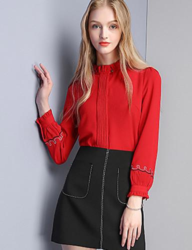 Damen Solide Einfach Lässig/Alltäglich Hemd,Rundhalsausschnitt Herbst Langarm Polyester