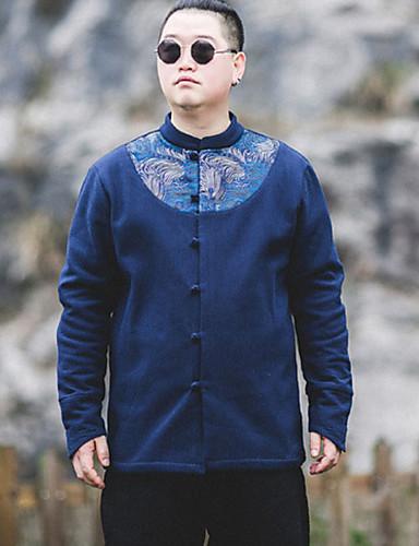 メンズ プラスサイズ 冬 シャツ,アジアン・エスニック スタンド アニマルプリント リネン 長袖 厚手