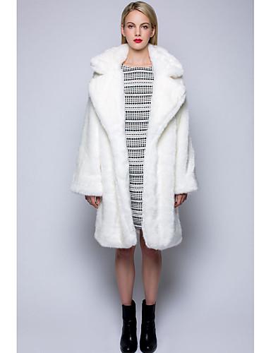 Damen Solide Retro Lässig/Alltäglich Mantel,Herbst Winter Langarm Weiß Mittel Kunst-Pelz