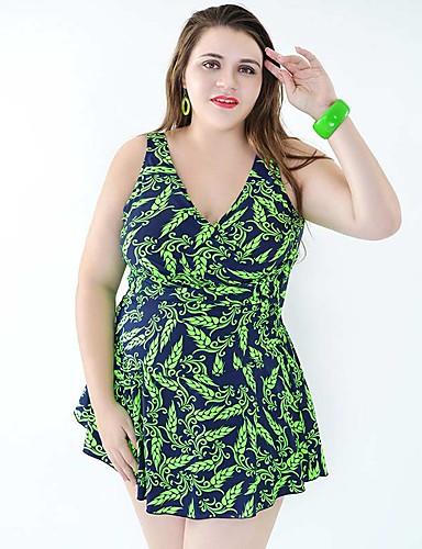 Mulheres Tamanhos Grandes Com Alças Azul Marinho Verde Azul Saia Maiô Roupa de Banho - Floral Estampado XXXXL XXXXXL XXXXXXL