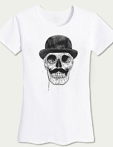 Damen Druck Einfach Lässig/Alltäglich T-shirt,Rundhalsausschnitt Kurzarm Acryl