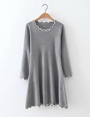 Damen Strickware Kleid-Ausgehen Lässig/Alltäglich Einfach Street Schick Solide Rundhalsausschnitt Übers Knie Langarm Kunstseide Polyester