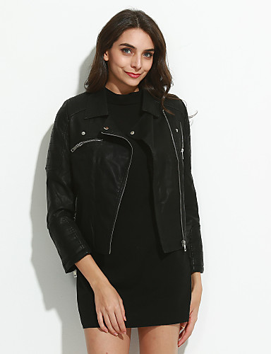 Women's Street chic Punk & Gothic Leather Jacket,Solid Rivet