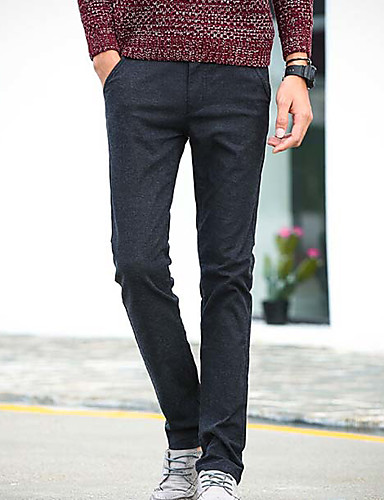 Herren Einfach Mittlere Hüfthöhe Mikro-elastisch Chinos Skinny Hose einfarbig