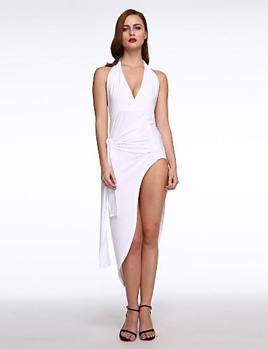 Damen Bodycon Kleid - Gespleisst, Solide Asymmetrisch Tiefes V Hohe Hüfthöhe