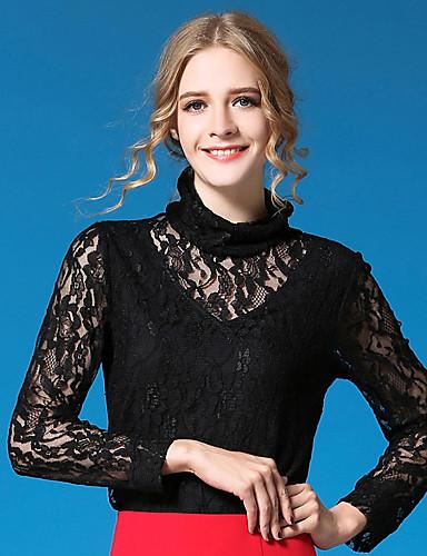 Damen Standard Strickjacke-Ausgehen Lässig/Alltäglich Niedlich Street Schick Solide Schwarz Ständer Langarm Baumwolle PolyesterFrühling