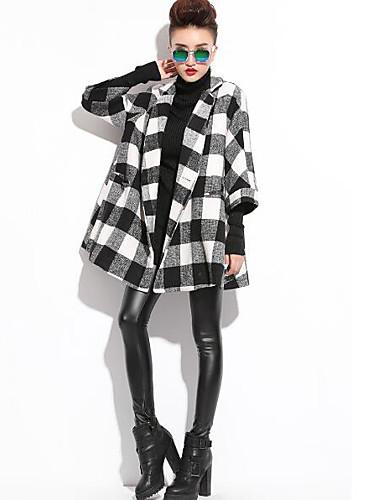 Damen Schachbrett Einfach Street Schick Ausgehen Lässig/Alltäglich Arbeit Mantel,Frühling Herbst Quadratischer Ausschnitt ¾-Arm Schwarz