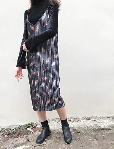 Damen Strickware Kleid-Lässig/Alltäglich Einfach Druck Gurt Midi Langarm Blau Rot Gelb Acryl Herbst Hohe Hüfthöhe Dehnbar Mittel