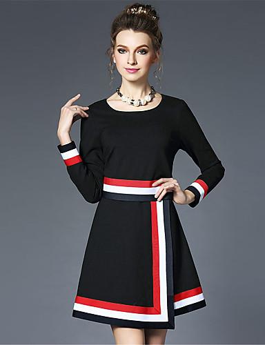 Damen A-Linie Hülle Kleid-Lässig/Alltäglich Party/Cocktail Übergröße Retro Einfach Gestreift Einfarbig Rundhalsausschnitt Übers Knie