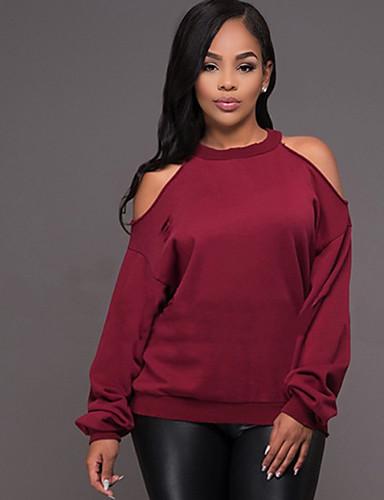 Damen Pullover Ausgehen Lässig/Alltäglich Einfach Street Schick Solide Rückenfrei Rundhalsausschnitt Mikro-elastisch Polyester