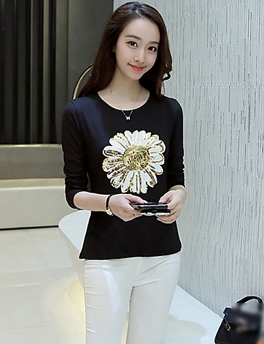 Mujer Simple Algodón Camiseta Floral / Otoño