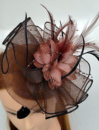 abordables Chapeau & coiffure-Tulle / Plume Kentucky Derby Hat / Fascinators / Coiffure avec Fleur 1pc Mariage / Occasion spéciale Casque