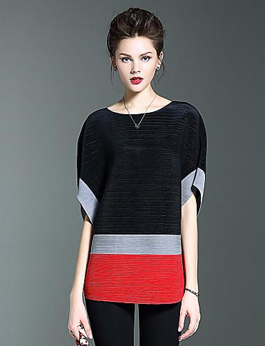 Damen Einfarbig Einfach Lässig/Alltäglich T-shirt,Rundhalsausschnitt Herbst Kurzarm Blau Rot Polyester