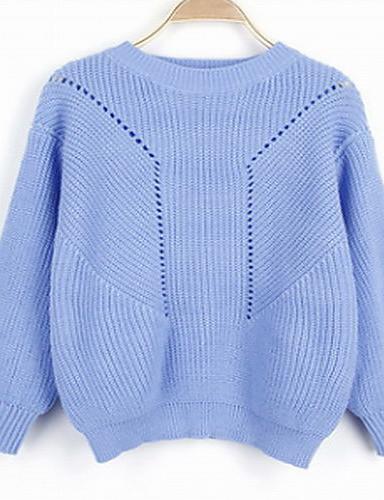 Damen Standard Strickjacke-Lässig/Alltäglich Einfach Solide Blau Rosa Weiß Grau Rundhalsausschnitt Langarm Kunstseide Herbst Winter Mittel