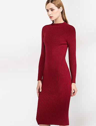 Damen Hülle Kleid-Lässig/Alltäglich Einfach Solide Rundhalsausschnitt Übers Knie Kurzarm Rot Grau Wolle Polyester Herbst WinterHohe