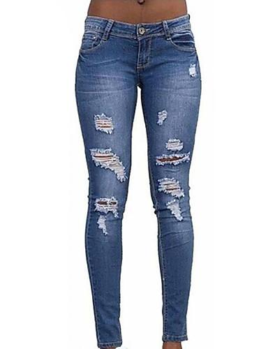 Damen Einfach Hohe Hüfthöhe Mikro-elastisch Jeans Schlank Hose,Ripped einfarbig