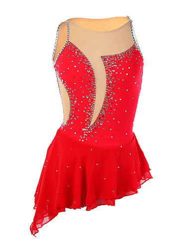 Eiskunstlaufkleid Damen / Mädchen Eislaufen Kleider Rot Strass Hochelastisch Leistung Eiskunstlaufkleidung Handgemacht Patchwork Ärmellos