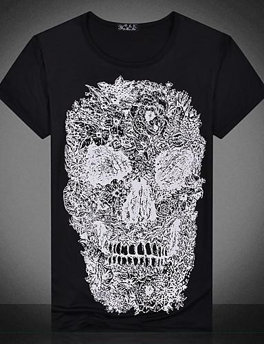 男性 カジュアル/普段着 夏 Tシャツ,シンプル 活発的 ラウンドネック プリント ホワイト ブラック ポリエステル 半袖 薄手