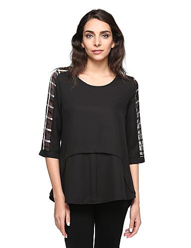 Damen Patchwork Übergrössen Bluse Gitter Polyester