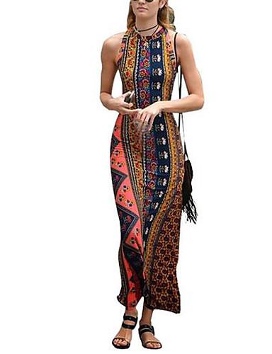 Damen Bodycon Kleid-Ausgehen Sexy Blumen Rundhalsausschnitt Maxi Ärmellos Blau Baumwolle Sommer Mittlere Hüfthöhe Mikro-elastisch Dünn