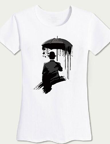 Damen Druck Einfach Lässig/Alltäglich T-shirt,Rundhalsausschnitt Frühling Kurzarm Acryl