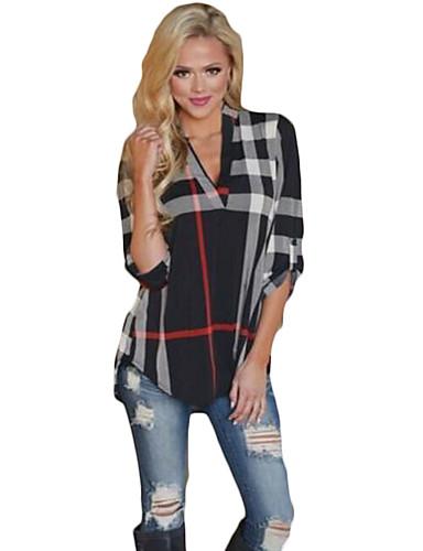 abordables Hauts pour Femme-Tee-shirt Femme, Tartan - Coton Col en V Ample Bleu / Printemps / Automne