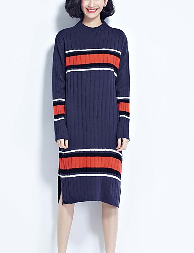 Damen Standard Pullover-Ausgehen Lässig/Alltäglich Urlaub Einfach Niedlich Street Schick Patchwork Blau Rollkragen LangarmBaumwolle