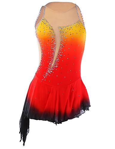 abordables Robe de Patinage-Robe de Patinage Artistique Femme Fille Patinage Robes Orange Teinture Halo Ourlet Asymétrique Spandex Elasthanne Compétition Tenue de Patinage Fait à la main Mode Sans Manches Patinage sur glace