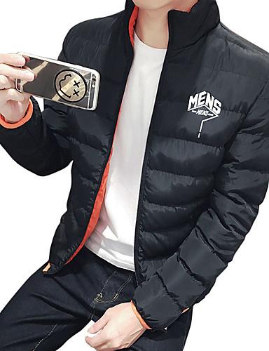 コート レギュラー パッド入り 男性,カジュアル/普段着 プラスサイズ ソリッド コットン ポリエステル コットン-ヴィンテージ シンプル ストリートファッション 長袖 ブルー ブラック