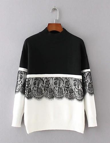 Damen Standard Pullover-Ausgehen Lässig/Alltäglich Einfach Street Schick Patchwork Rundhalsausschnitt Langarm Acryl Polyester Elasthan