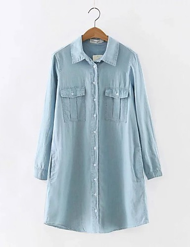 Damen Solide Einfach Street Schick Ausgehen Lässig/Alltäglich Hemd,Hemdkragen Herbst Winter Langarm Acryl Polyester Mittel